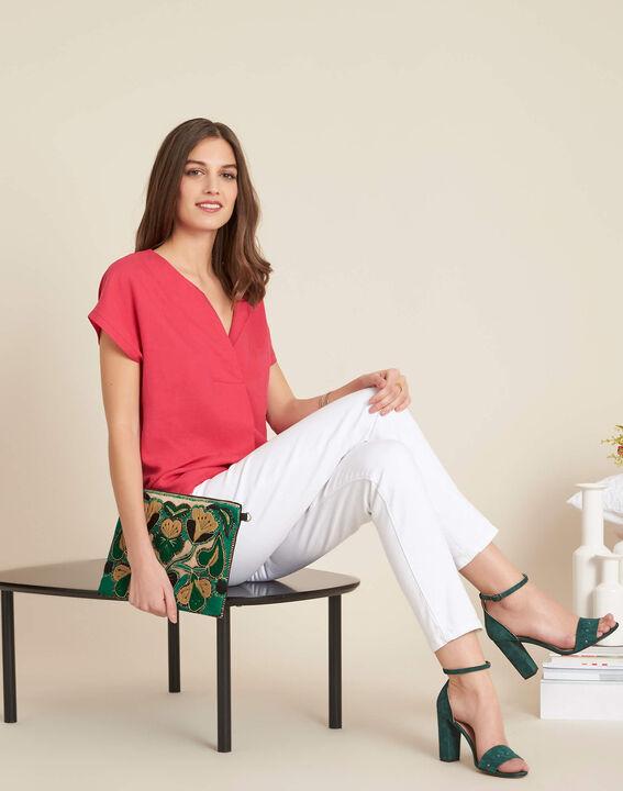 Gaia dual-fabric fuchsia T-shirt with granddad collar (2) - 1-2-3