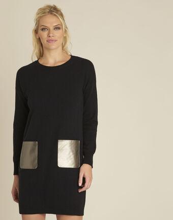 Schwarzes strickkleid mit kunstledertaschen baltus schwarz.