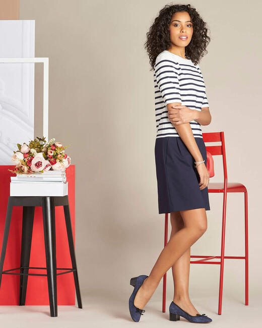 Petite striped navy blue straight-cut dress (2) - 1-2-3