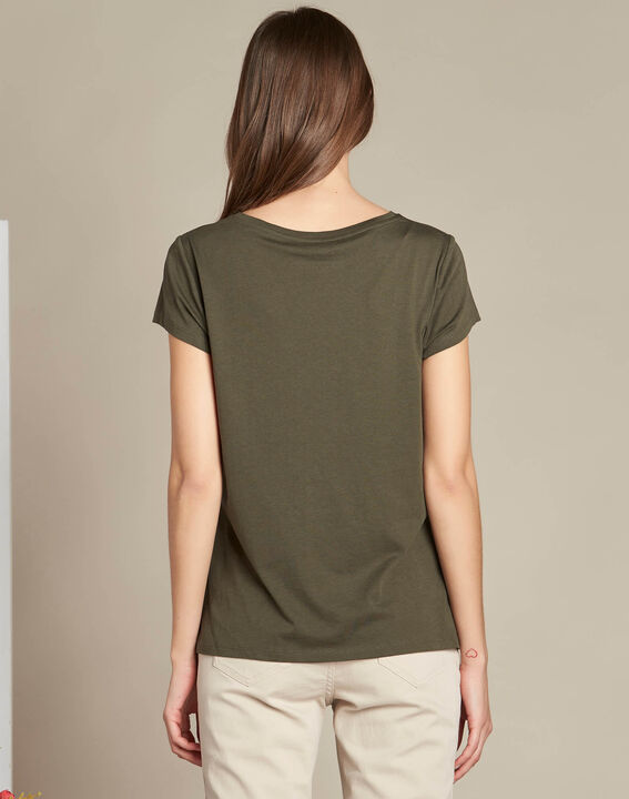 Tee-shirt kaki sérigraphié Extra (4) - 1-2-3