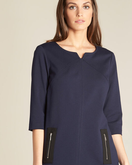 Patty straight-cut navy blue dress with zips (2) - 1-2-3