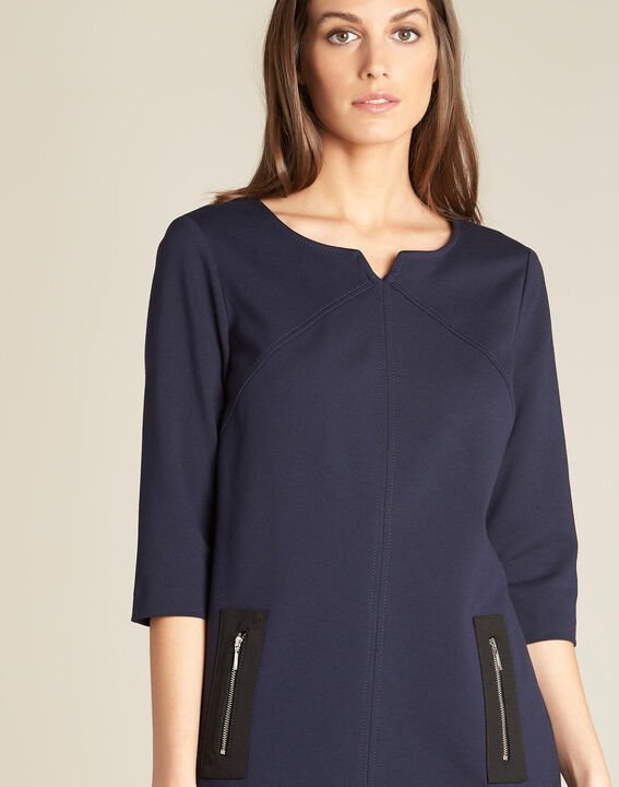 Patty straight-cut navy blue dress with zips PhotoZ | 1-2-3