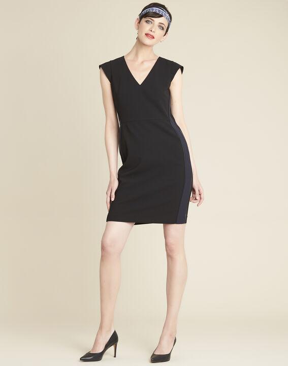 Daffo black straight-cut dress in microfibre (3) - 1-2-3