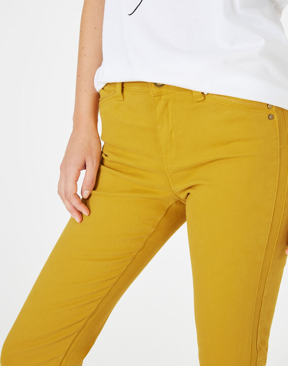 Pia yellow 7/8 length satin trousers (3) - 1-2-3