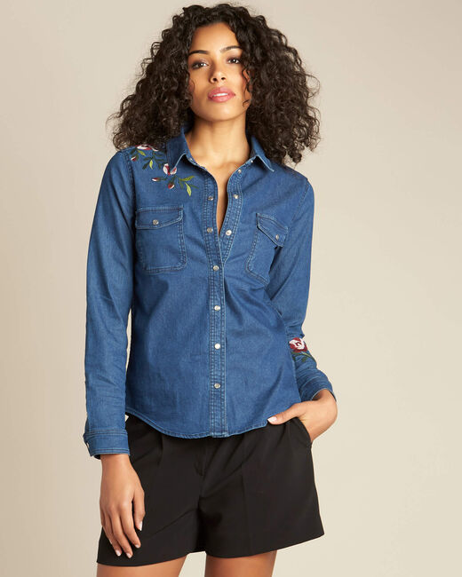 Desmond denim floral embroidered shirt (2) - 1-2-3