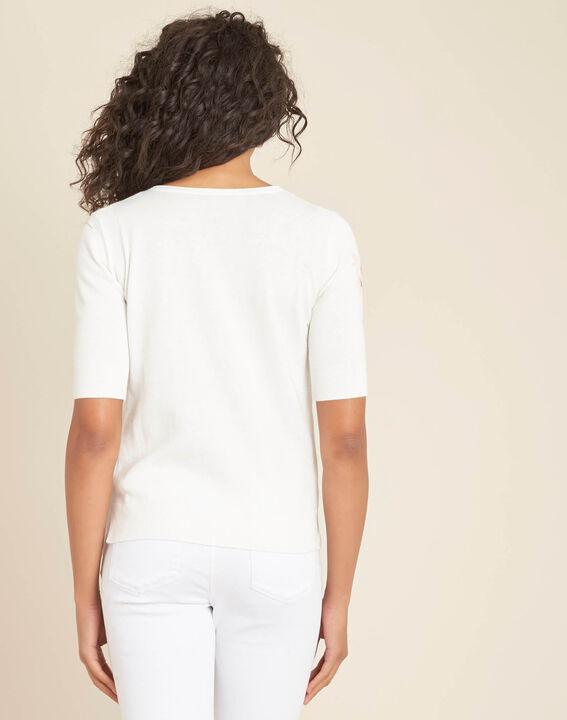 Pull blanc imprimé fleuri Nouette (4) - 1-2-3