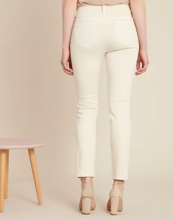 Cremefarbene bestickte Slim Fit-Jeans Vendome (4) - 1-2-3
