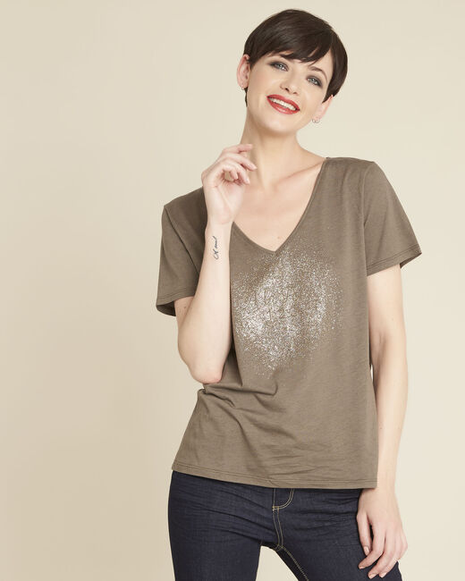 Tee-shirt kaki à message Gusty (2) - 1-2-3