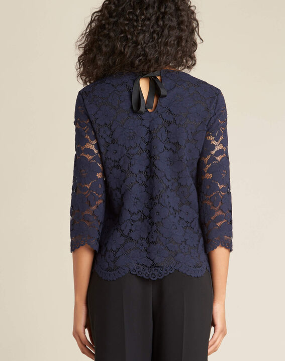 Geraldine navy blue lace blouse (4) - 1-2-3