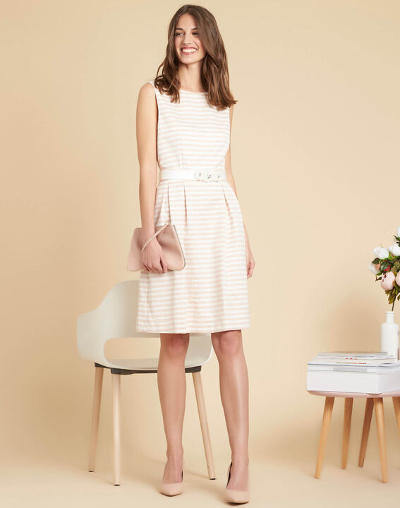 Irina chalk-coloured floral dress with stripes and belt (2) - 1-2-3
