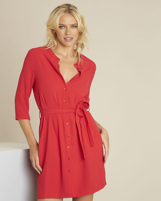 Rode jurk met knopen en riem van crêpe Donovan (2) - 37653