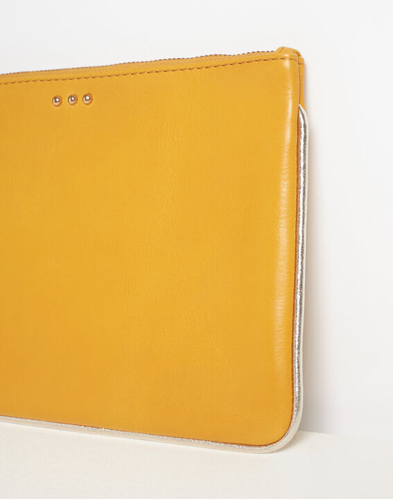 Droopy pale yellow clutch with leather straps (4) - 1-2-3