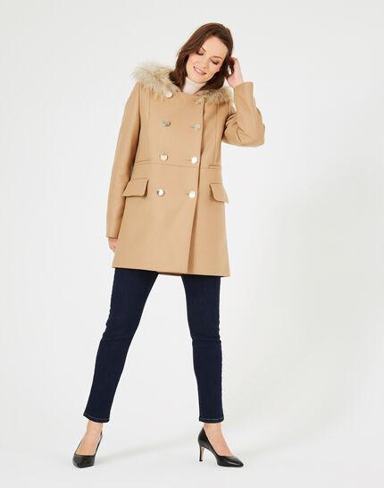 Camel wool 3/4 length coat (2) - 1-2-3