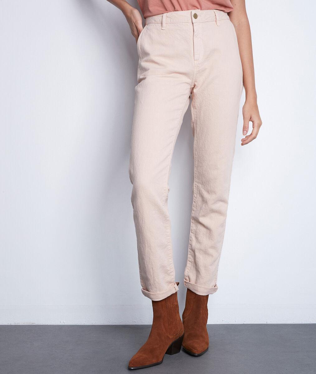 Pantalon droit en coton et lin rose poudré Farel PhotoZ | 1-2-3