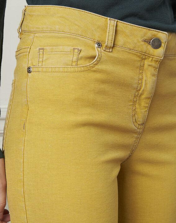 Jean jaune délavé évasé en coton Chica (4) - Maison 123