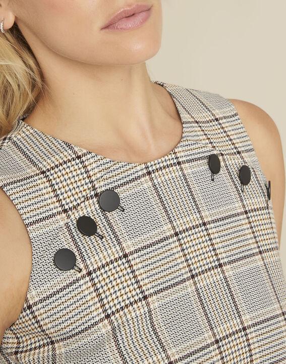 Rechte jurk met ruitjesprint en knopendetails Dakar (3) - 37653
