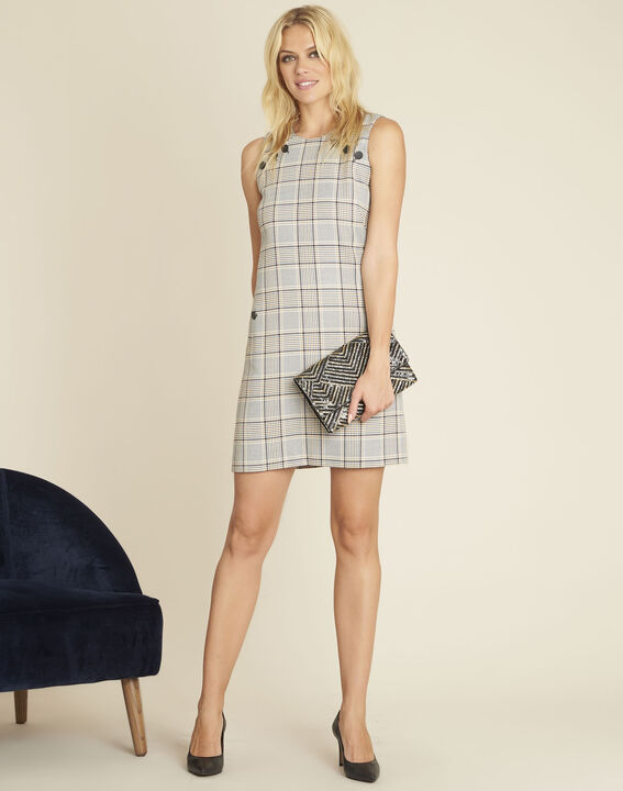 Dakar straight-cut check printed dress with buttons (3) - 1-2-3