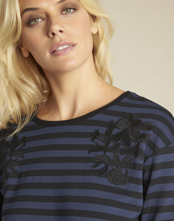 Glory navy striped t-shirt with embroidery (3) - Maison 123