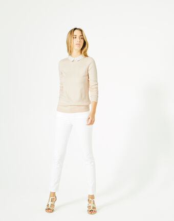 Pretty pale pink sweater with stylish neckline powder.