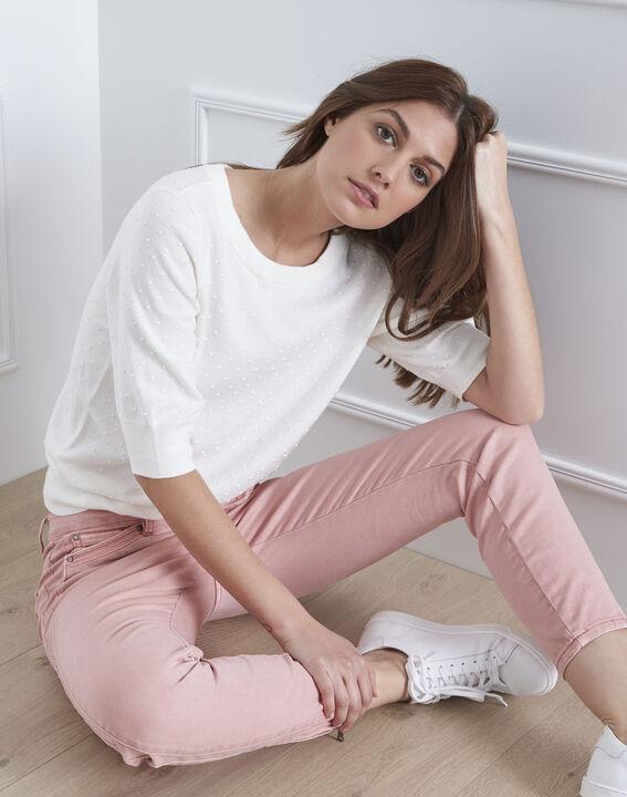 Gebrochen weißes T-Shirt mit Schleifendetail Adriana (1) - Maison 123