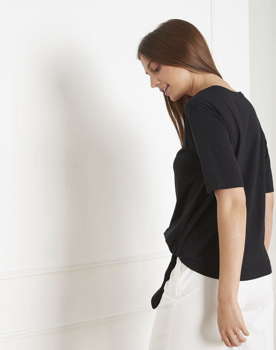 Tee-shirt noir à nœud Philippine (3) - Maison 123