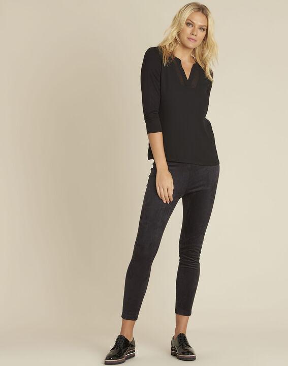 Schwarze Bluse aus Bimaterial mit V-Ausschnitt Bianca (2) - 1-2-3