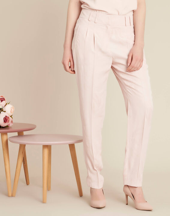 Vada pale pink trousers with jacquard palm print (3) - 1-2-3