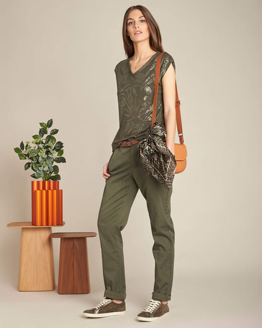 Francis slim-cut cotton 7/8 length trousers in khaki (2) - 1-2-3
