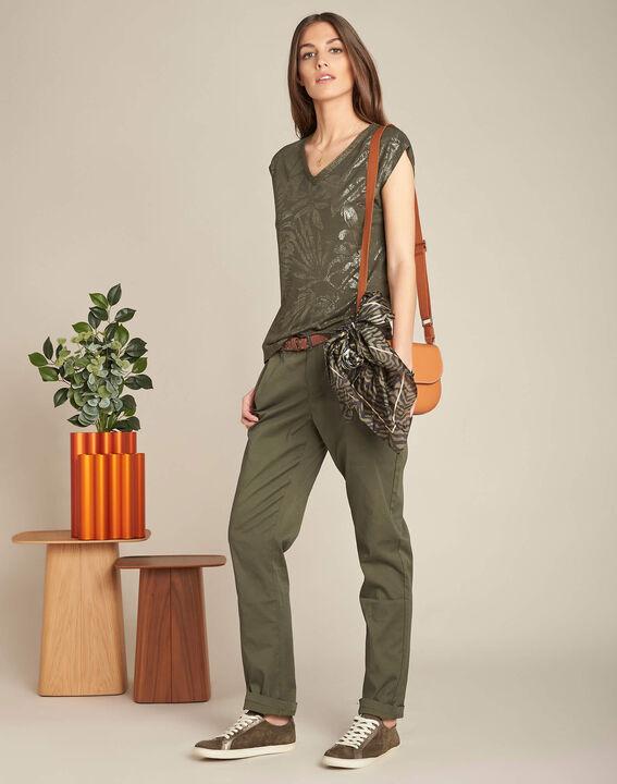 Francis slim-cut cotton 7/8 length trousers in khaki (2) - 1-2-3
