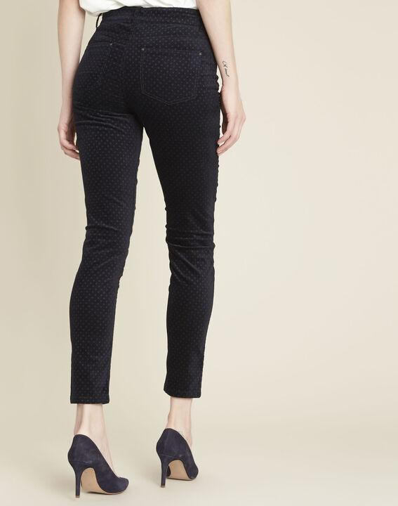 Marineblaue Slim Jeans aus Samt mit Pünktchen Vendome (4) - 1-2-3