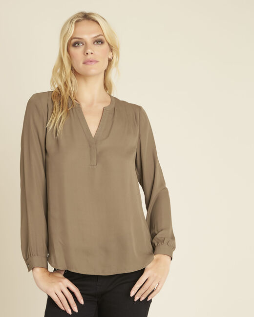 Blouse kaki encolure V Christine (2) - 1-2-3