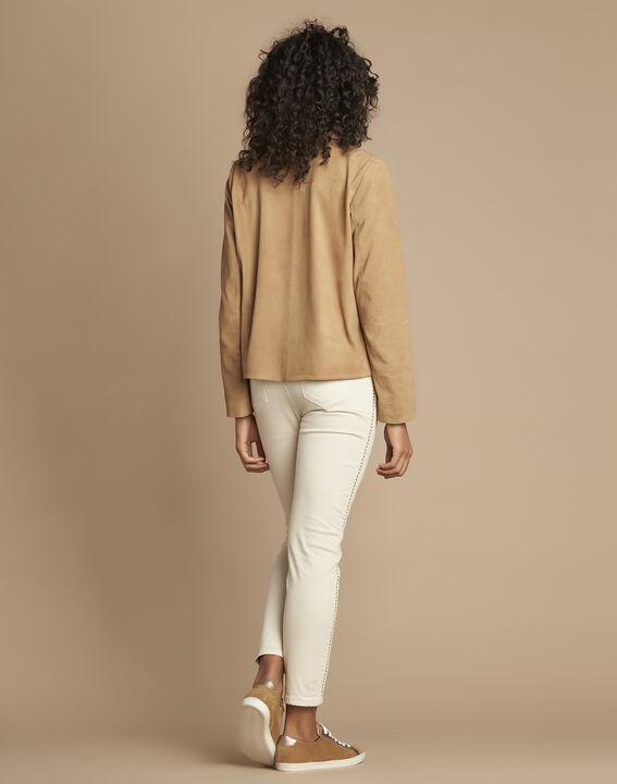 Veste courte camel en cuir velours Tilane (4) - 1-2-3