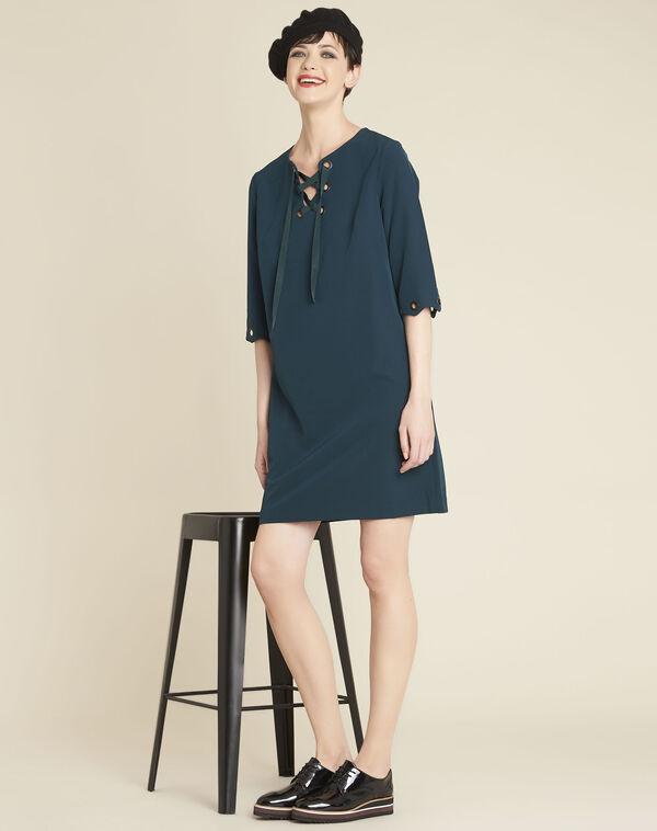 Donkergroene jurk met vetergaten Donatella (2) - 37653