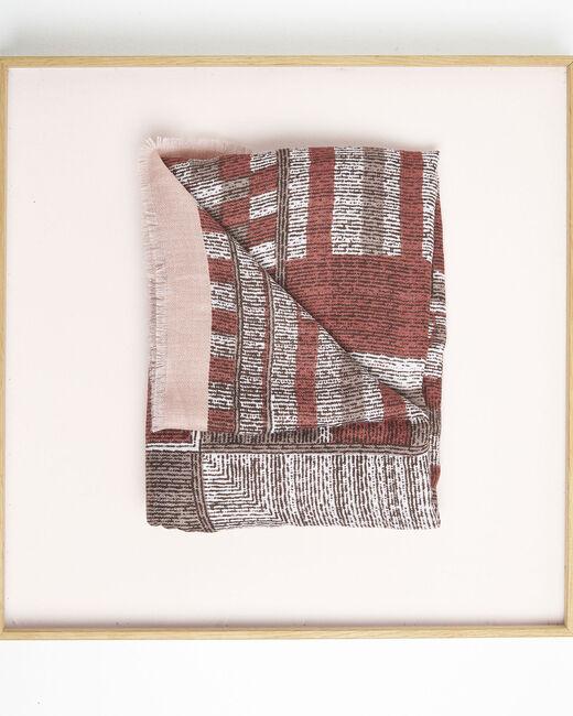 Foulard rouge imprimé à franges Formidable (1) - 1-2-3