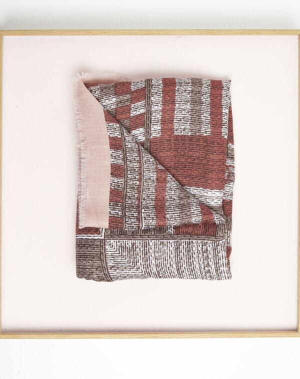 Rode sjaal met franjes en print Formidable (1) - 37653