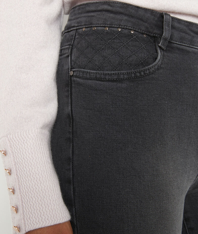 Jean slim en coton gris foncé et broderies Nadia PhotoZ   1-2-3