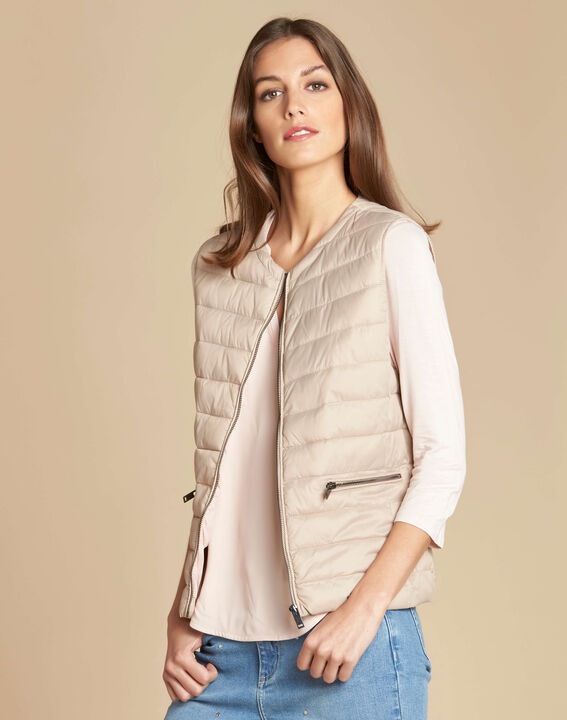 Yvana fine beige sleeveless padded coat (3) - 1-2-3