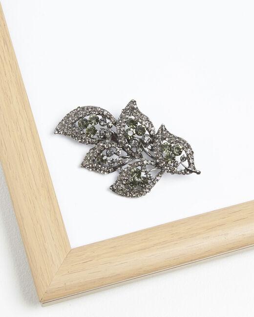 Broche feuille pierres noires Xelia (1) - 1-2-3