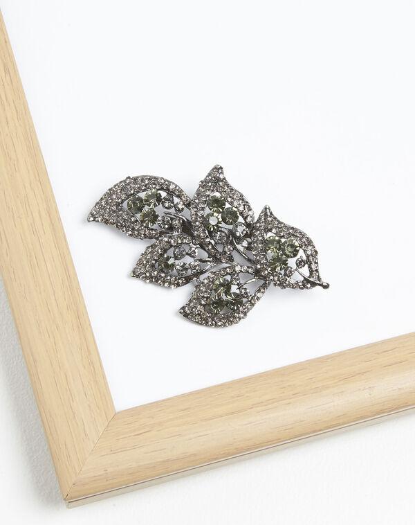 Broche feuille pierres noires Xelia (2) - 1-2-3