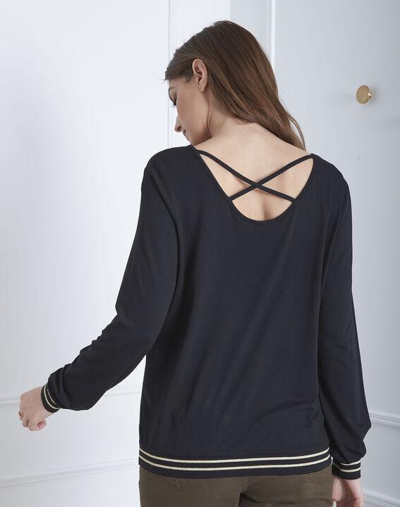 Tee-shirt noir fluide bords côtes rayés Pompom (4) - Maison 123