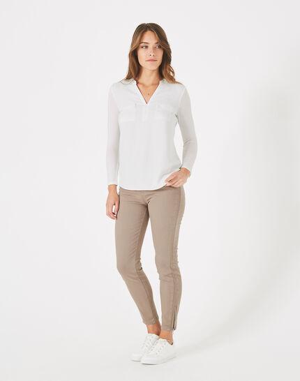 Ecrufarbenes T-Shirt im Materialmix Leden PhotoZ   1-2-3
