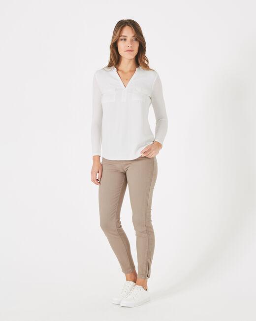 Tee-shirt écru bi-matière Leden (1) - 1-2-3