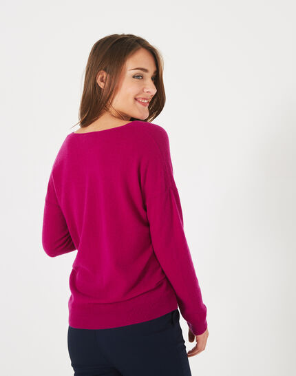 Piment fuchsia cashmere sweater with V-neck (4) - 1-2-3