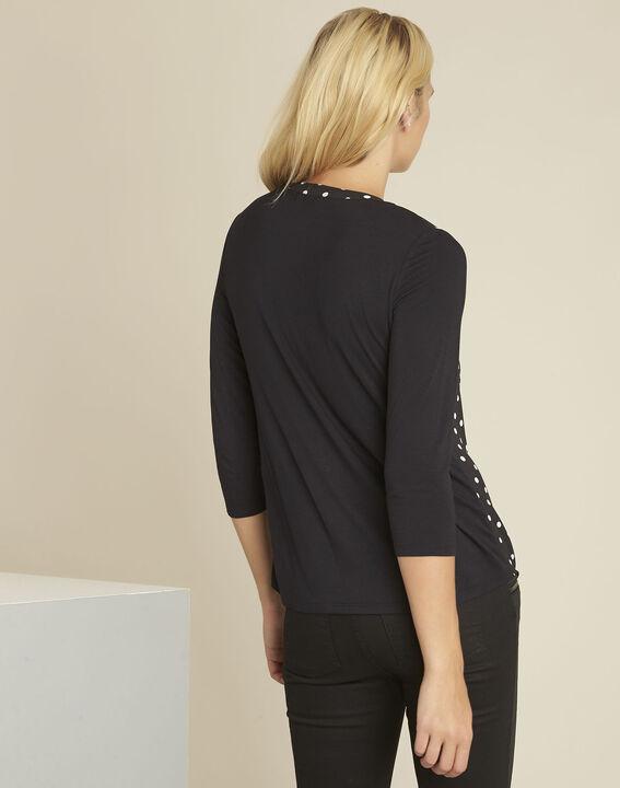 Genna black polka dot bi-material blouse (4) - 1-2-3