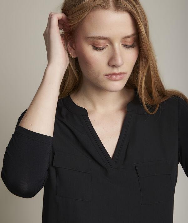 Zwarte blouse uit twee materialen Genna PhotoZ | 1-2-3