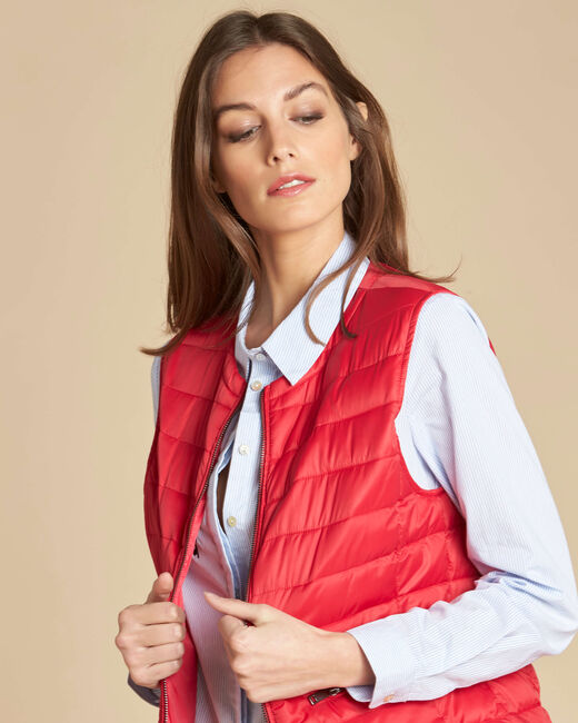 Yvana fine red sleeveless quilted jacket (1) - 1-2-3
