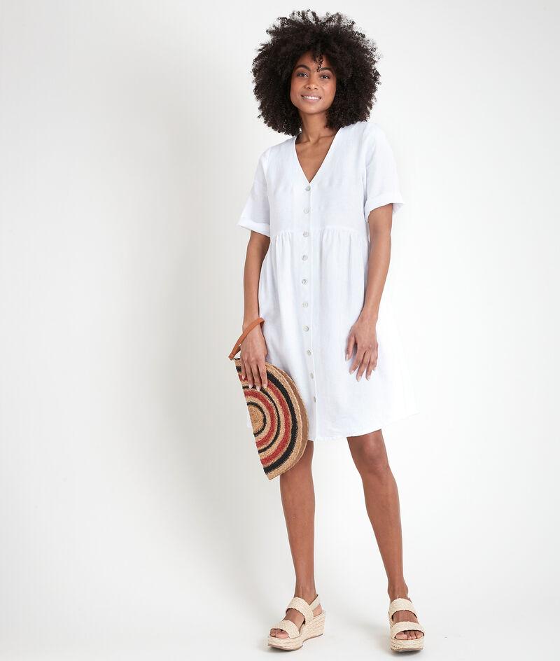 Geknöpftes Kleid aus zertifiziertem Bio-Leinen weiß Lalou PhotoZ | 1-2-3