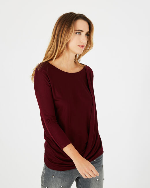 Bree red T-shirt with rounded neckline (2) - 1-2-3