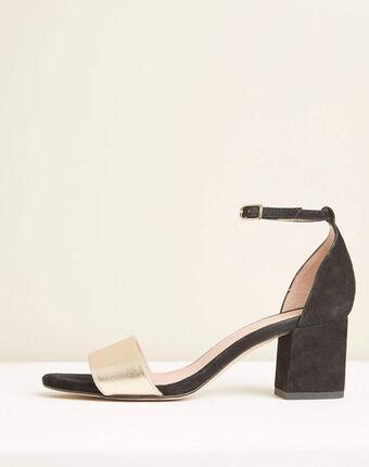 Sandales à talons noir et or en cuir khloe noir.