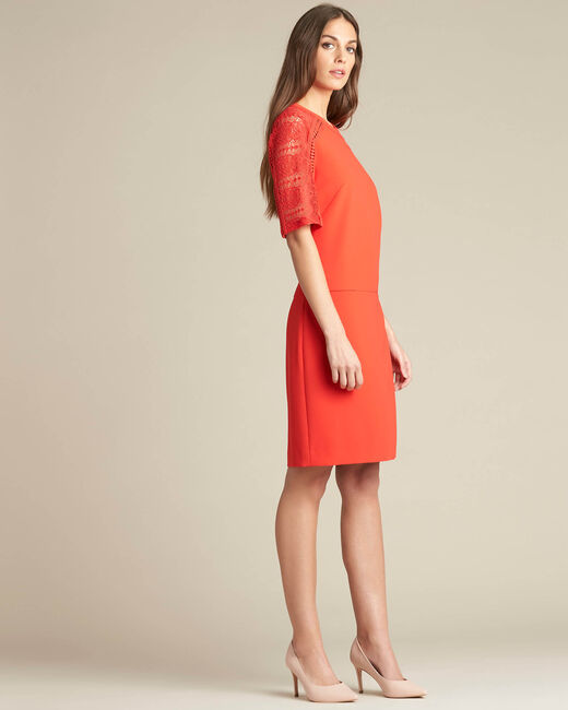Pastel dual-fabric red lace dress (2) - 1-2-3
